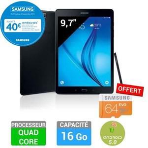 "Tablette 9.7"" Samsung Galaxy Tab A - 16 Go WiFi Noir + Stylet ¨+ MicroSD 64 Go EVO - Classe 10 (via 40€ en ODR)"