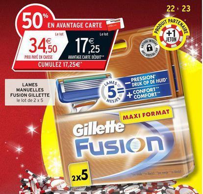 Lot de  2 x 5 lames Gillette Fusion (17.25€ sur la carte)