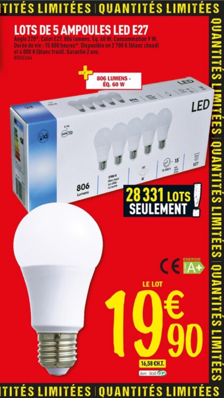 Lot 5 ampoules LED E27 9W (éq. 60W)
