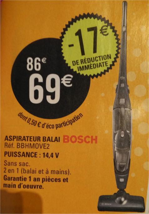 Aspirateur balai sans fil 2 en 1 Bosch BBHMOVE2