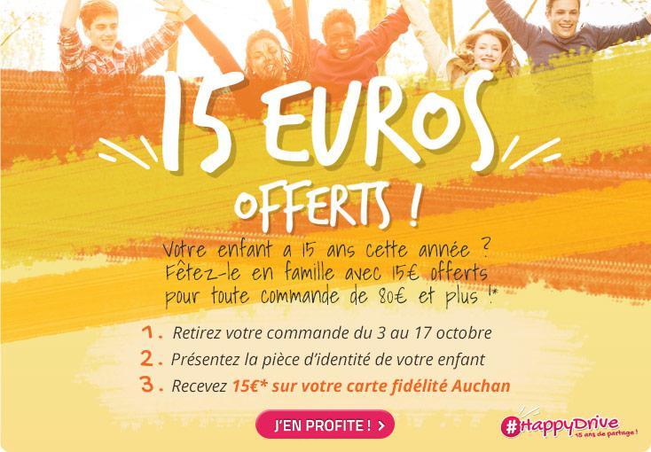 15€ offerts sur la carte de fidélité dès 80€ d'achat par enfant âgé de 15 ans