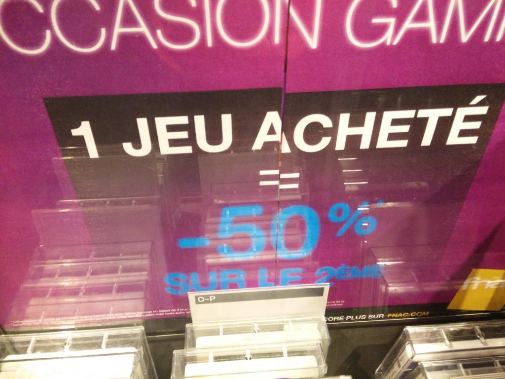 Un jeu d'occasion acheté, le second à -50%