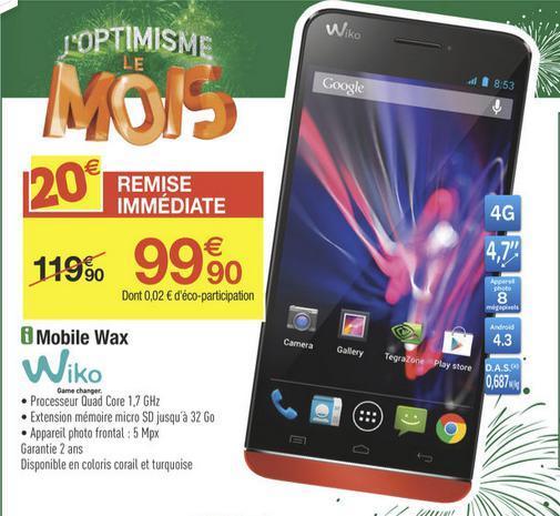"Smartphone 4,7"" 4G - Wiko Wax (Coloris Turquoise ou Corail)"