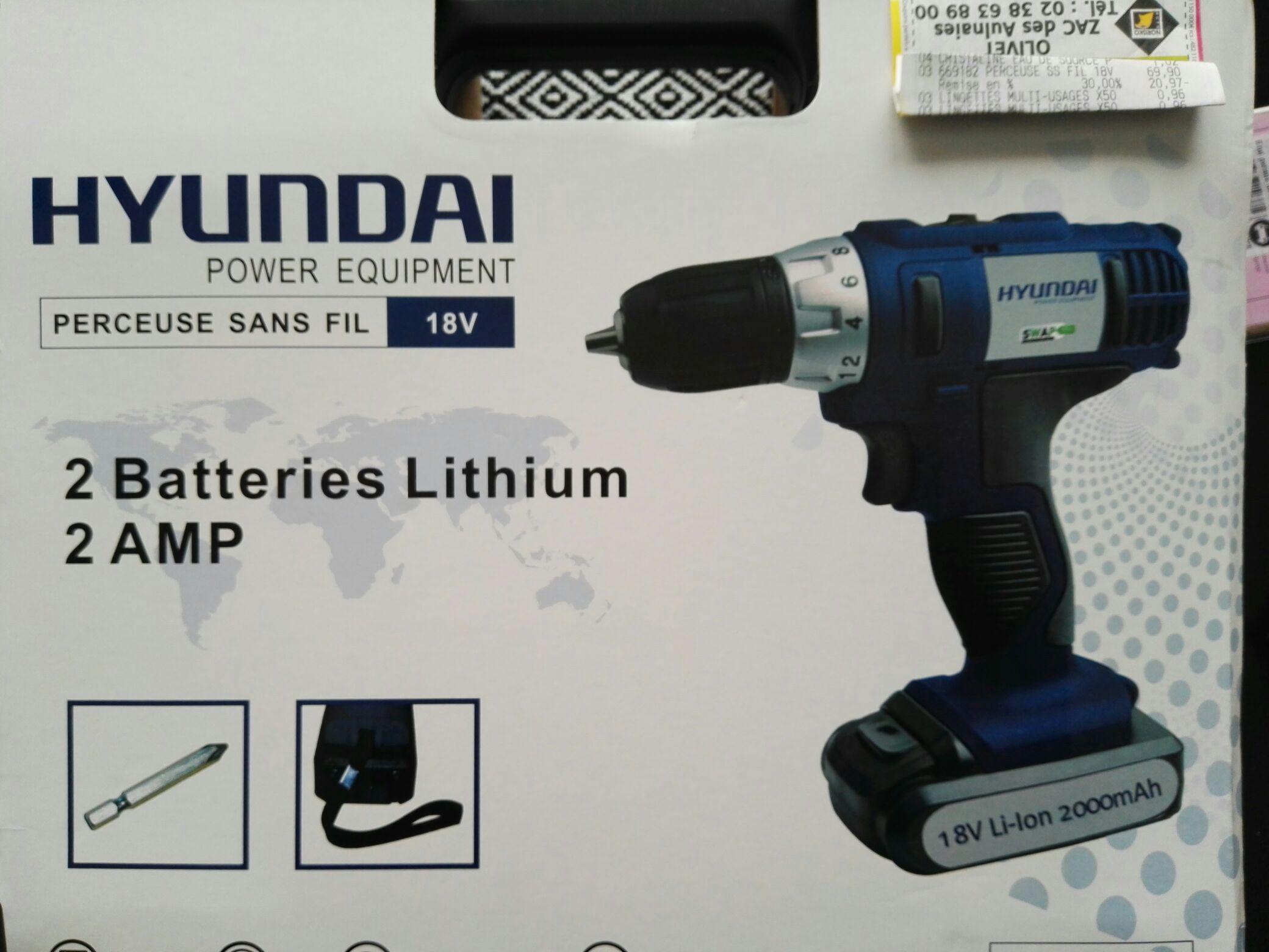 Perceuse sans fil Hyundai 18v 2.0Ah
