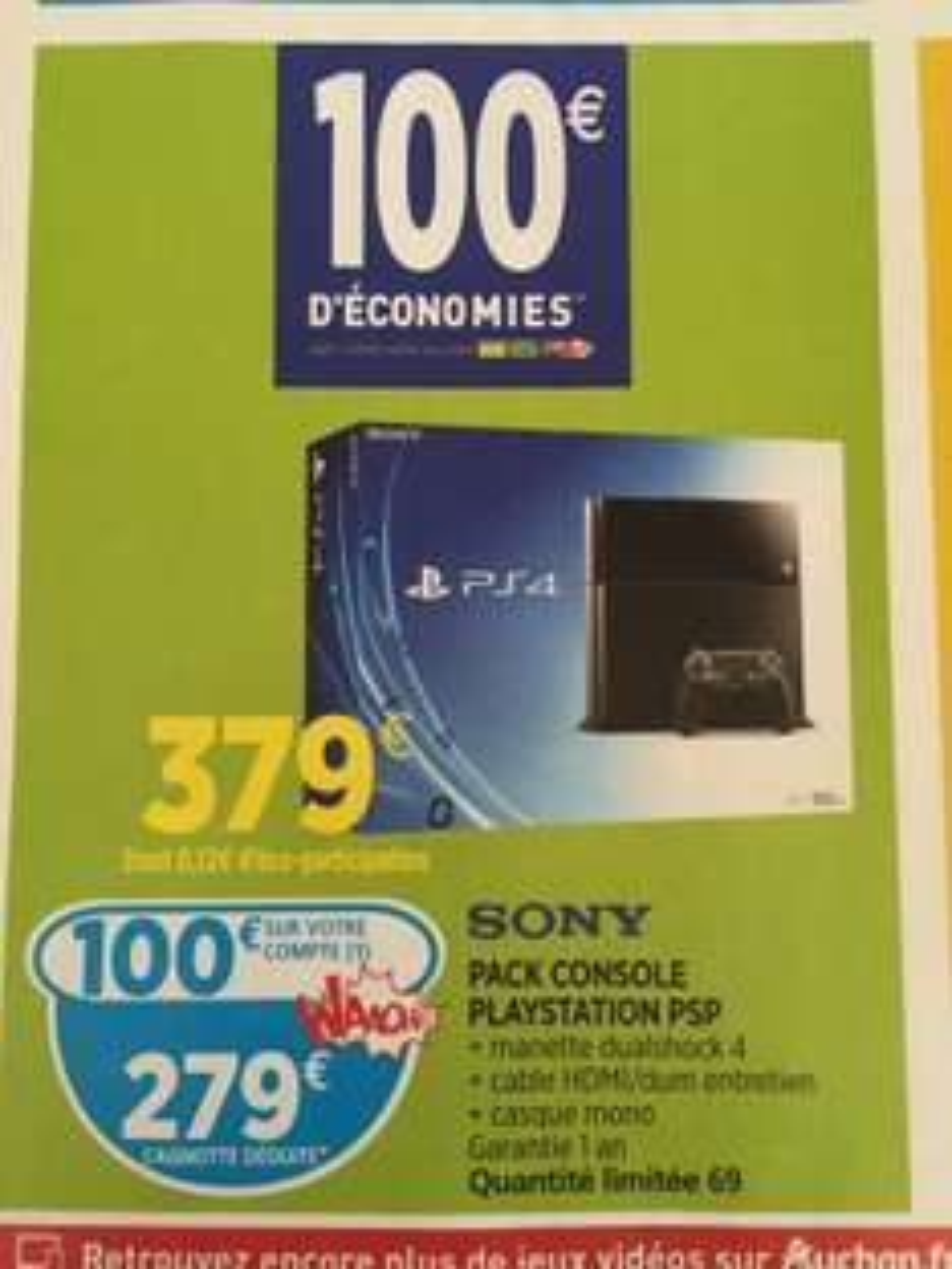 Console PlayStation 4 500Go (Avec 100€ sur carte de fidélité)