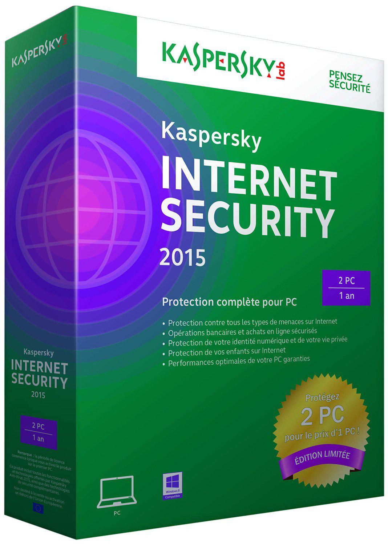Antivirus Kaspersky Internet Security 2015 (2 postes, 1 an)