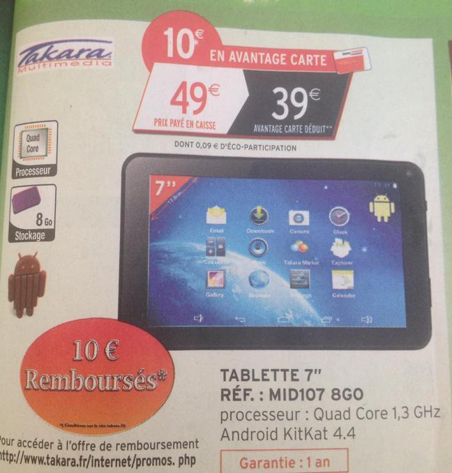 """Tablette 7"""" Takara MID107 8 Go  (10€ sur la carte et 10€ remboursés via ODR)"""