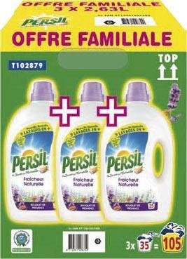 Pack 3 bouteilles de lessives Persil 3x35 lavages (Bouquet de Provence ou Amande douce)