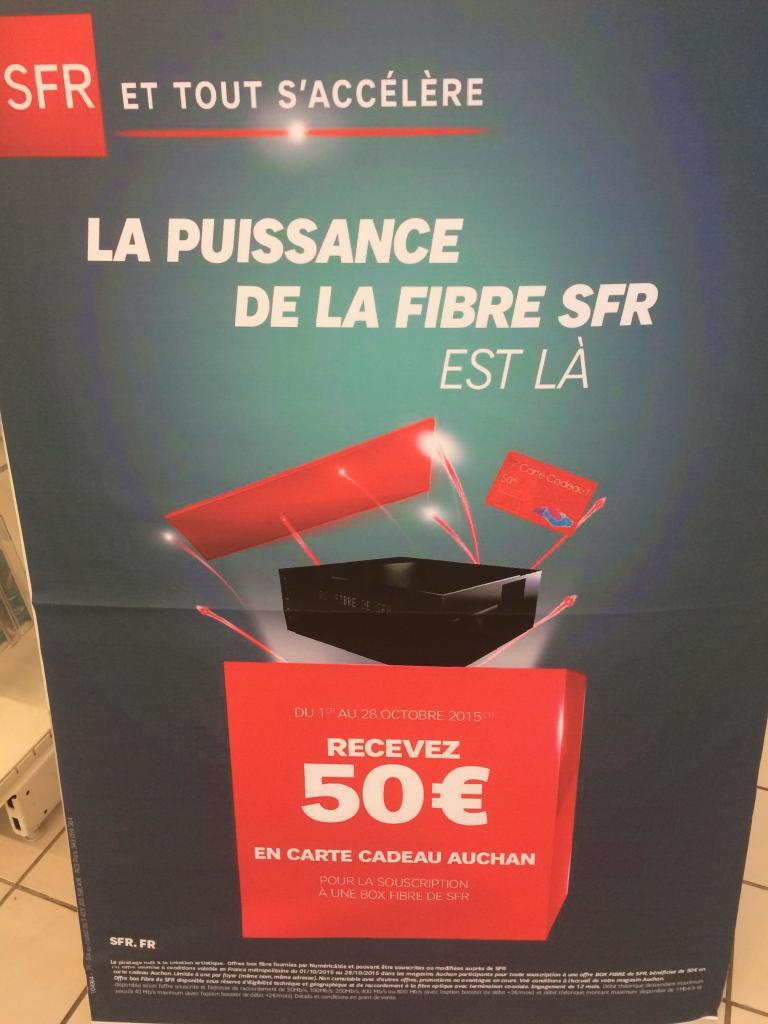 50€ offerts en carte cadeau Auchan  pour toute souscription à une fibre/adsl SFR (engagement d'1 an)