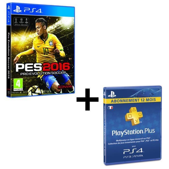 PES 2016 sur PS4 + Abonnement de 12 mois au Playstation Plus