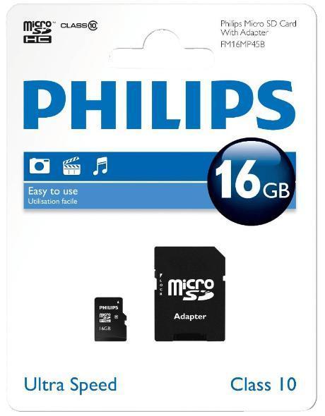 Carte Micro SDHC Philips FM16MP45B 16Go Classe 10