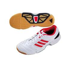 Chaussures badminton homme Adidas BT Feather Team - Blanche/Rouge
