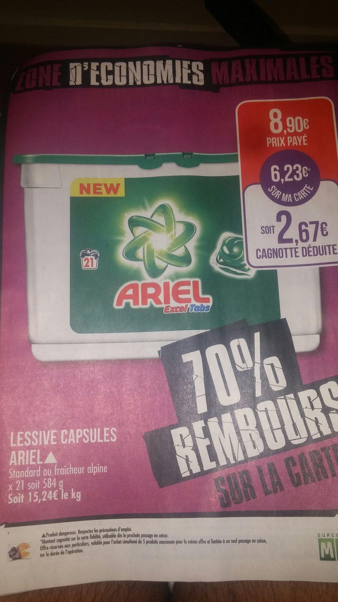 Lessive Capsules Ariel Excel Tab - 21 Tablettes (via 6.23€ fidélité)