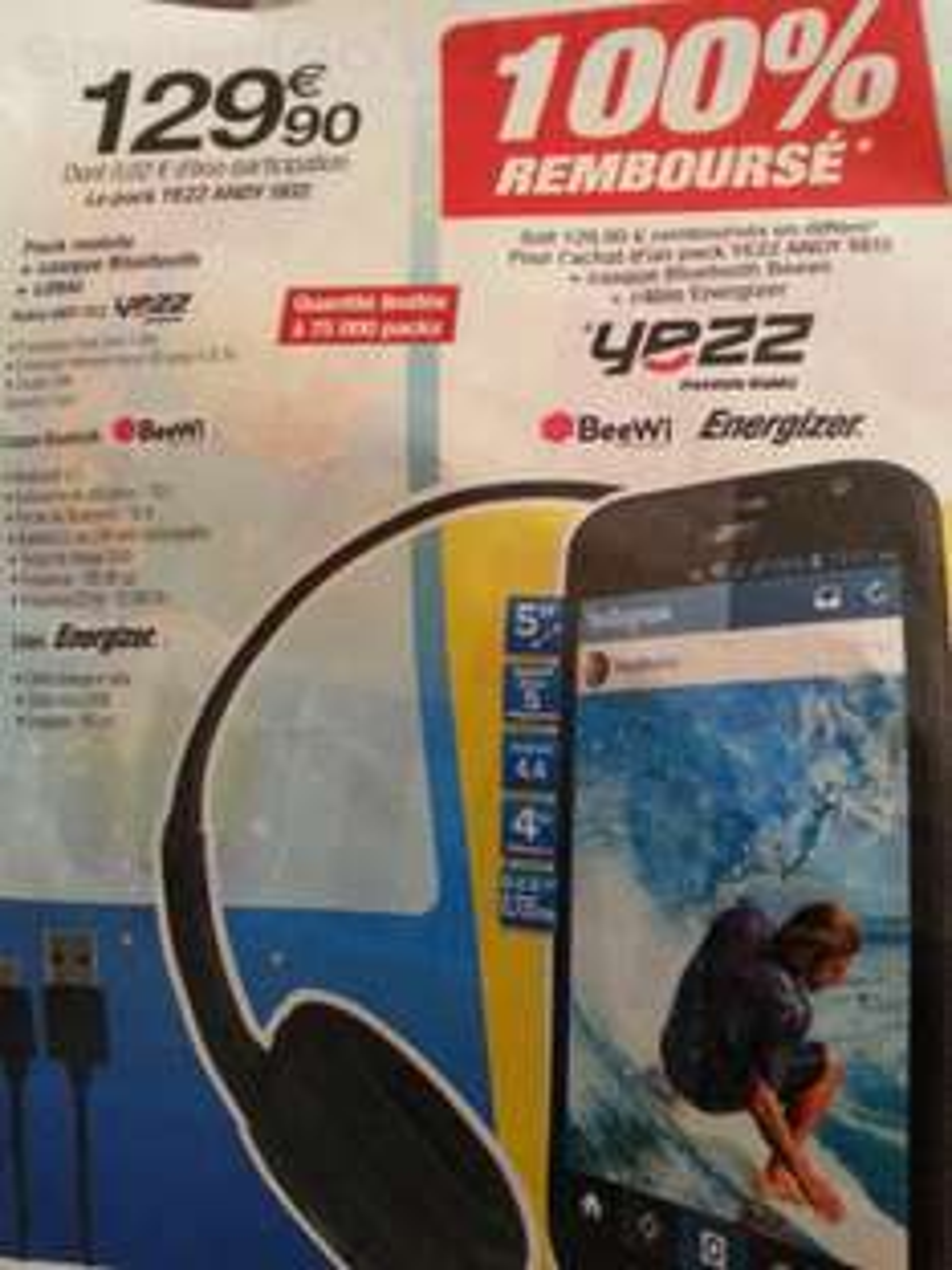 Pack mobile Yezz Andy A5EI + Casque bluetooth BeeWi + Câble Energizer (100% remboursé via ODR)