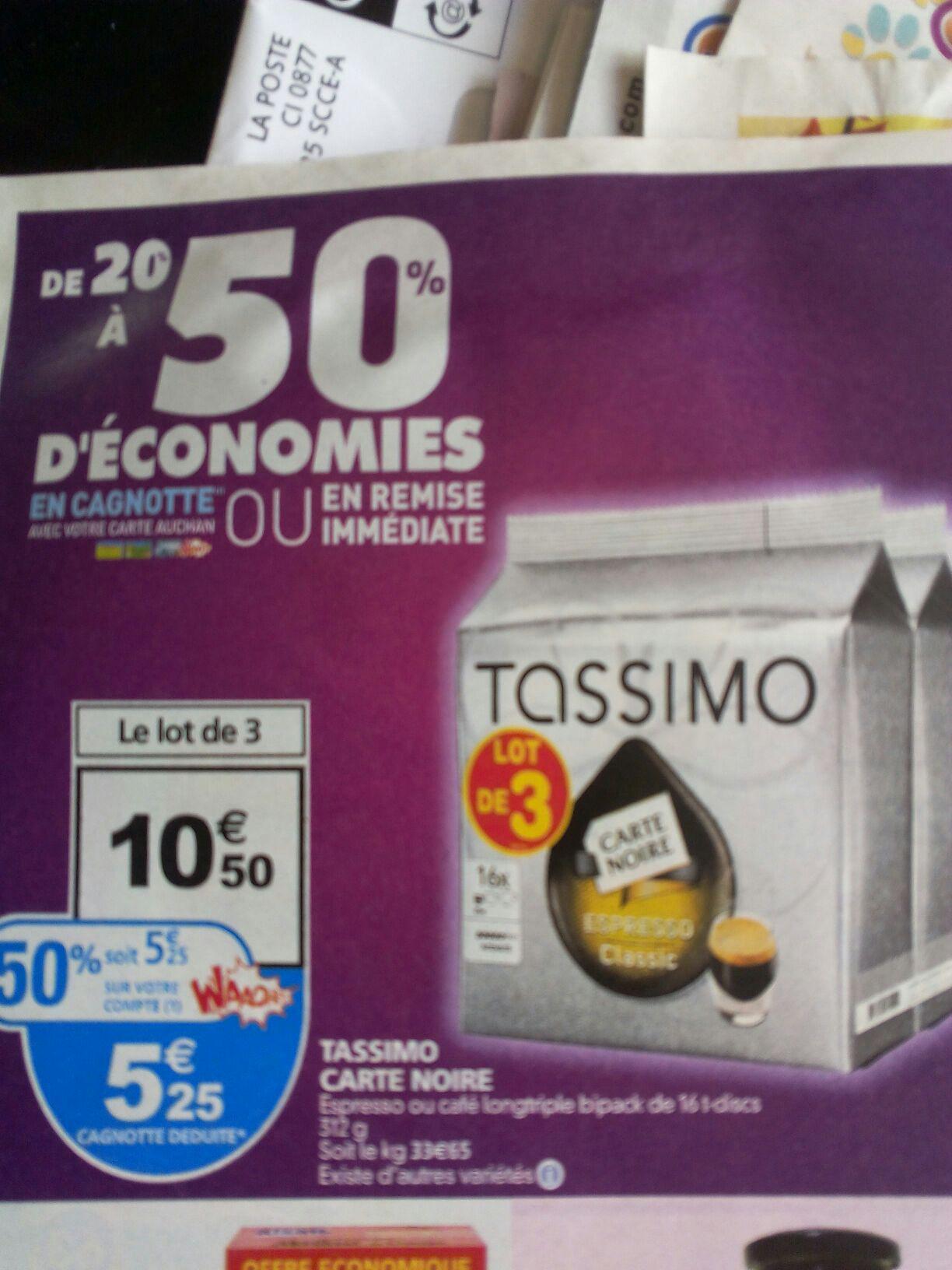 3 paquets de Tassimo Carte Noire (50% sur la carte)