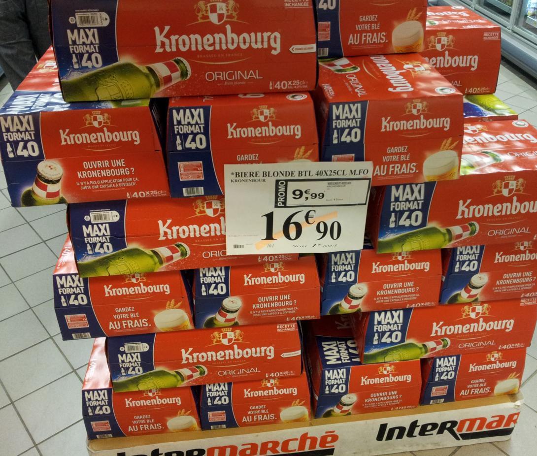 2 packs de bières Kronenbourg 40 x 25cl (BDR de 0,90€)