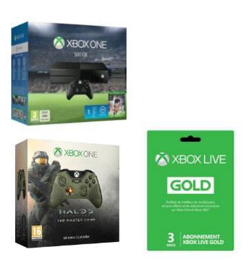 Console Xbox One 500 Go + FIFA 16 + 2ème Manette Halo 5 The Master Chief + Carte pré-payée  Xbox Live Gold 3 Mois