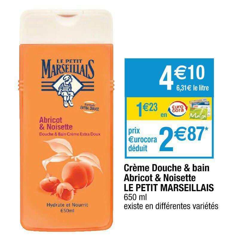Crème douche & bain Le Petit Marseillais Abricot & Noisette (avec 1,23€ sur la carte fidélité + BDR 1€)