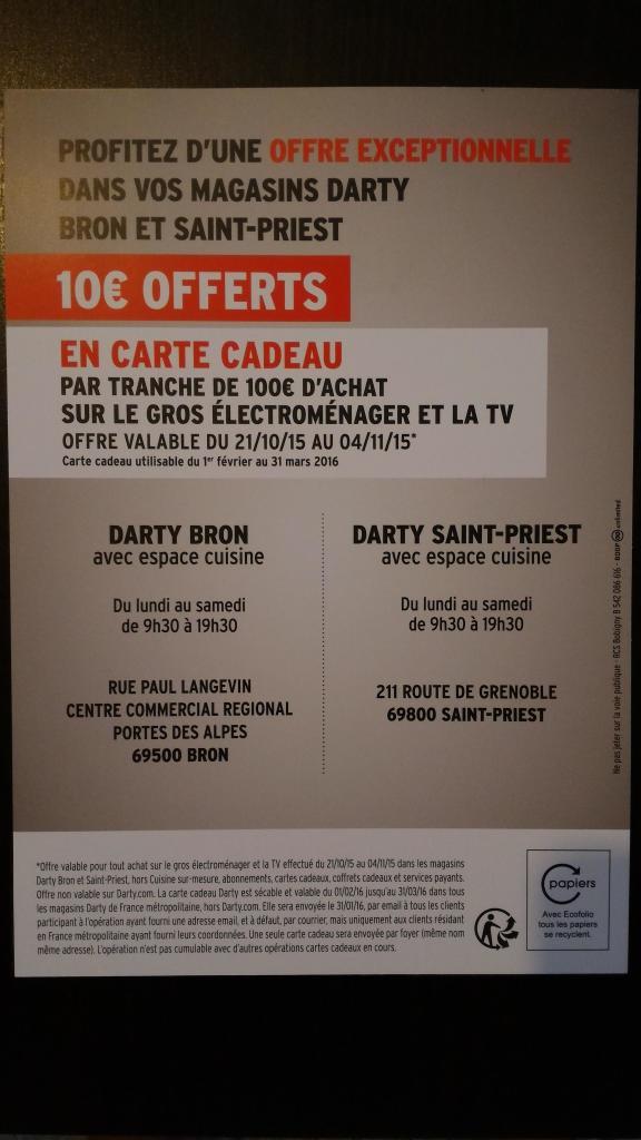 10€ offerts en carte cadeau par tranche de 100€ d'achats sur le gros électroménager et la TV