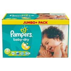 Lot de 90 Couches Pampers Baby Dry - Tailles 3 à 5+ (via 13€ carte Waaoh)