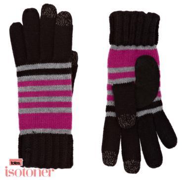 Gants Isotoner Smart Touch Rib Cuff Stripe