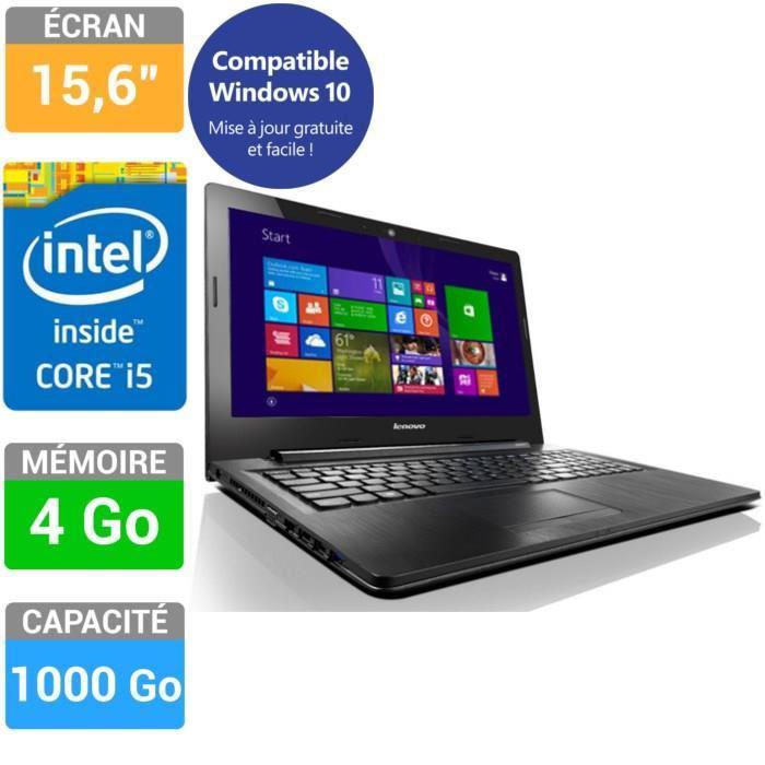"""PC Portable 15,6"""" Lenovo G50-80 : i5-5200U, 4 Go RAM, 1 To HDD"""