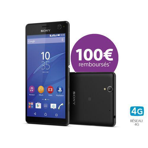 """Smartphone 5.5"""" Sony Xperia C4 DS noir - 16 Go (via ODR de 100€)"""