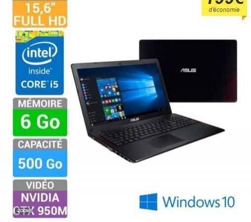 """PC portable Gamer 15.6""""  Full HD  Asus FX550JX-DM265T (i5-4200H, 6 Go de ram - HDD 500Go -  GTX 950M 2 Go) (+2 bons d'achat de 50€)"""