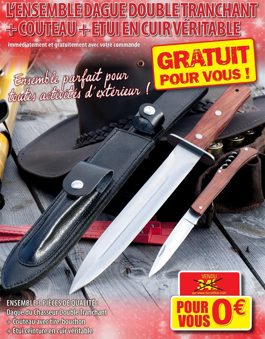 Ensemble dague double tranchant + couteau + étui en cuir véritable offert
