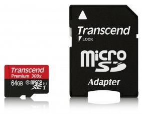 Carte microSD Transcend 300x Classe 10 avec adaptateur - 32 Go à 9,86€ ou 64 Go