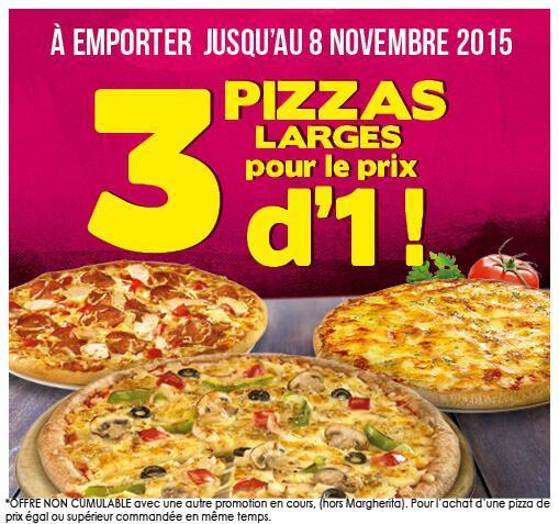 3 pizzas larges pour le prix d'une pizza, soit