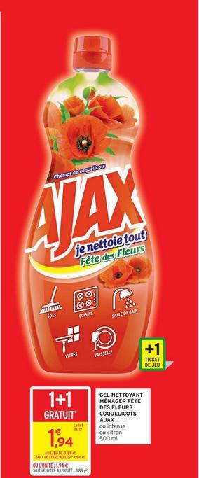 2 Bouteilles de gel nettoyant ménager Ajax (via BDR)