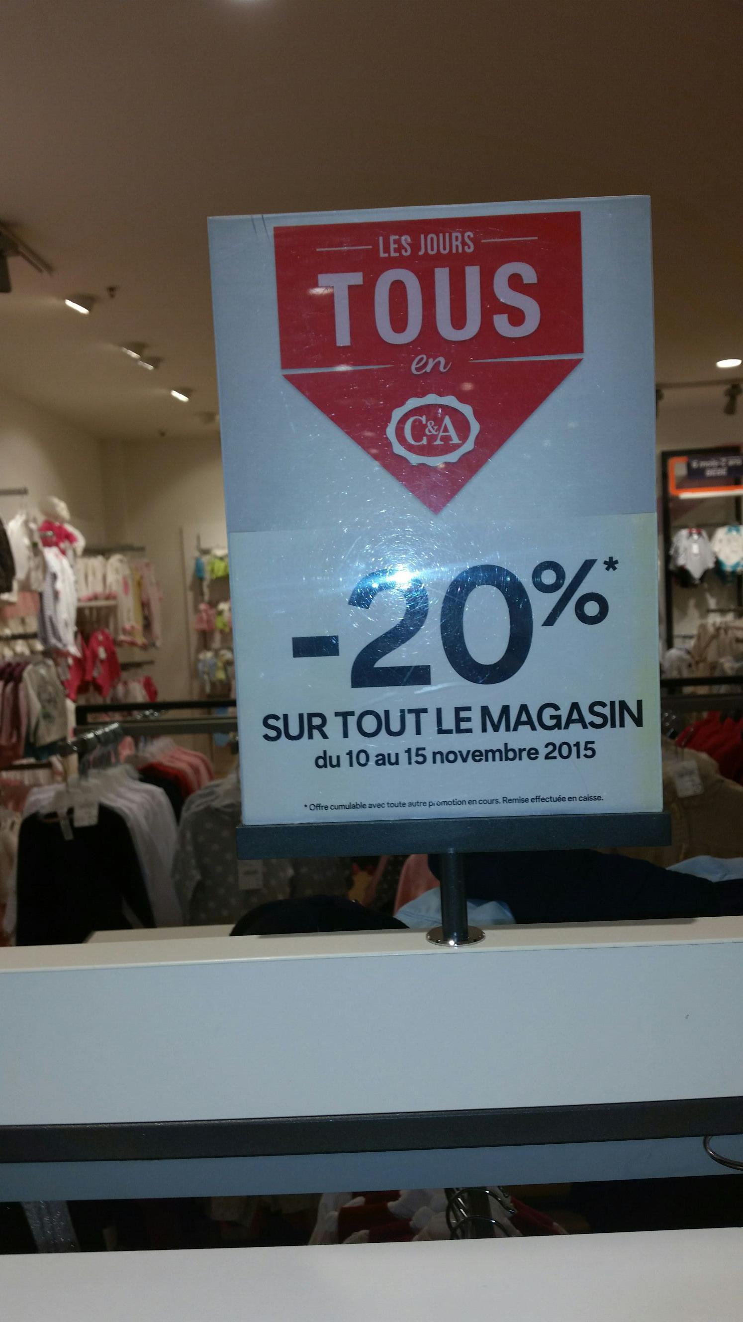 20% de réduction sur tous les vêtements, y compris sur les promotions - Ex : Gilet enfant/bébé