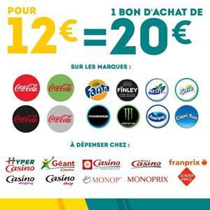 Bon d'achat de 20€ valable en magasin (Groupe Casino) sur les marques The Coca Cola Company