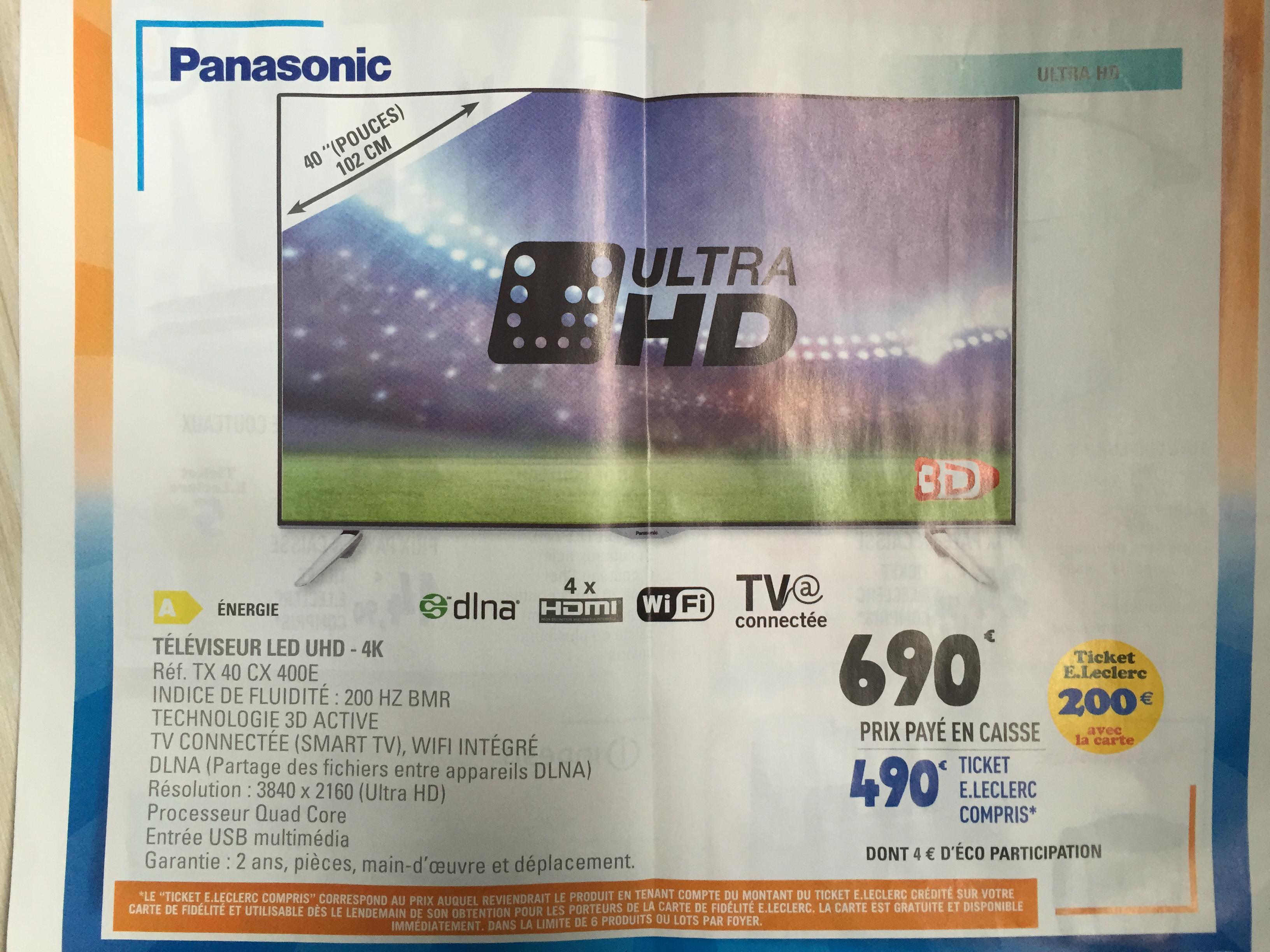 """TV 40"""" Panasonic TX40CX400E - LED, UHD 4K, 3D (via 200€ ticket E.Leclerc)"""