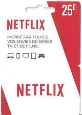 Carte cadeau Netflix de 25€ (frais de port inclus)