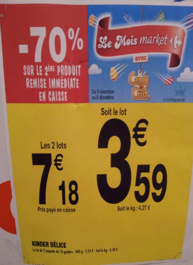 2 lots de 2x10 goûters Kinder Délice cacao (via BDR)