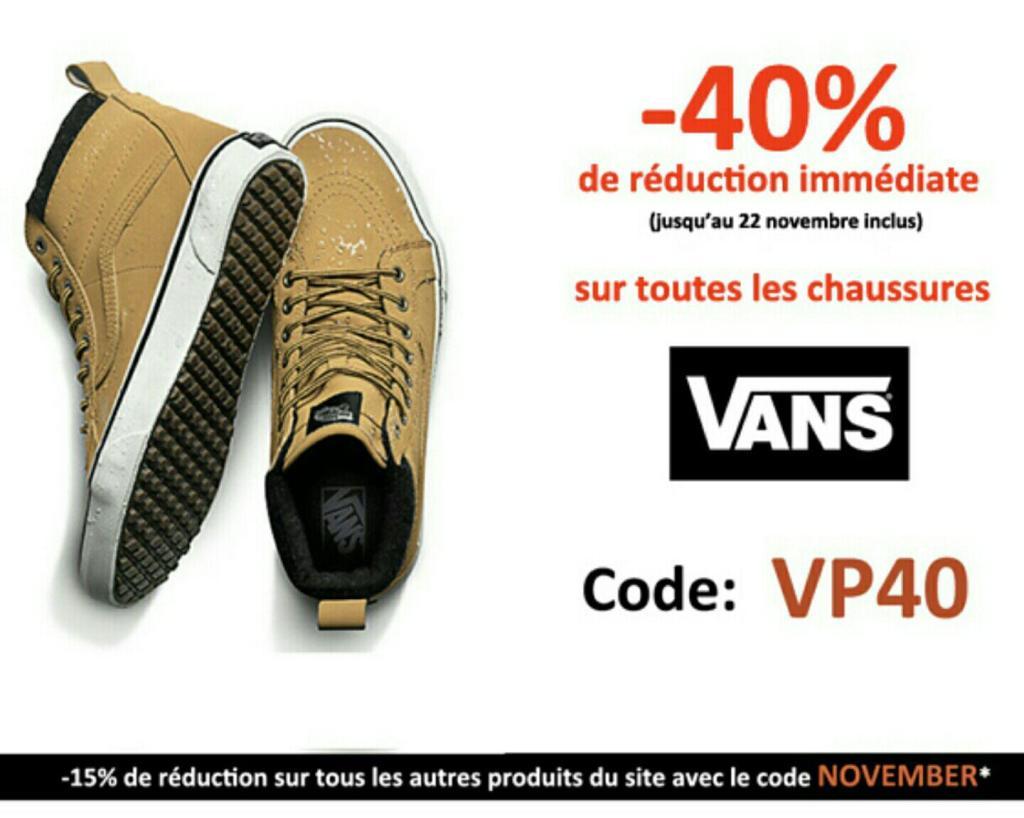 40% de réduction  sur toutes les paires de Vans