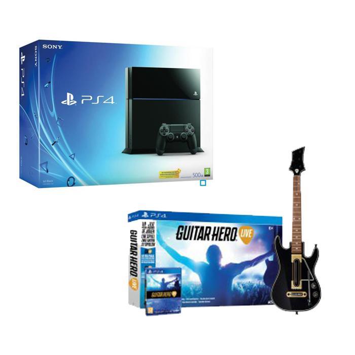 Console Sony Playstation 4 - 500 Go + le jeu Guitar Hero Live  avec la guitare
