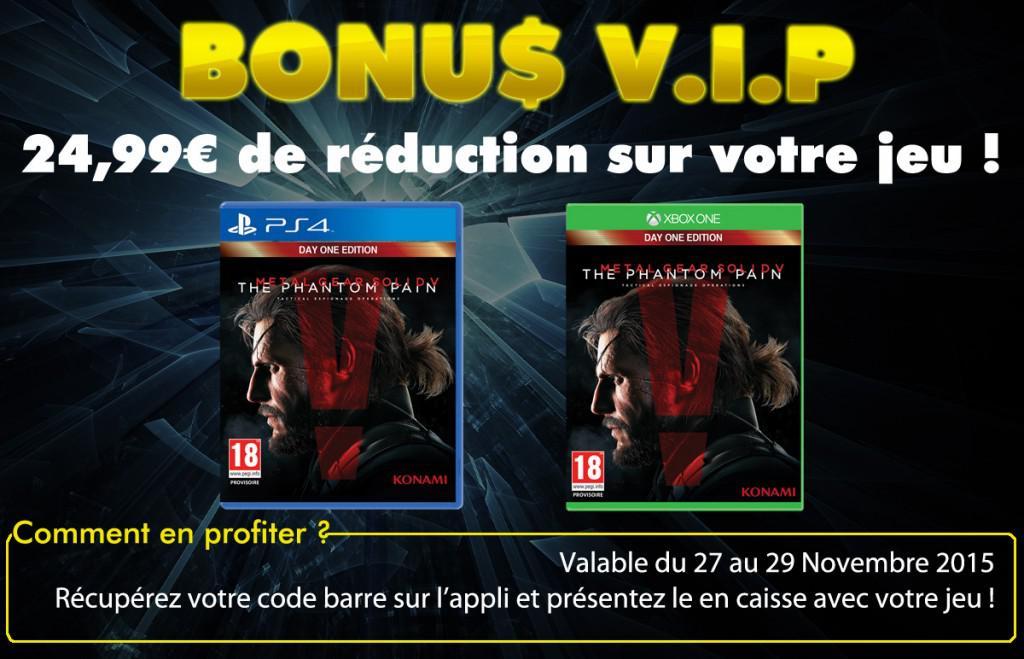 Sélection de jeux en promotion - Ex : Metal Gear Solid V The Phantom Pain sur PS4 ou Xbox One (via l'application Hypergames)