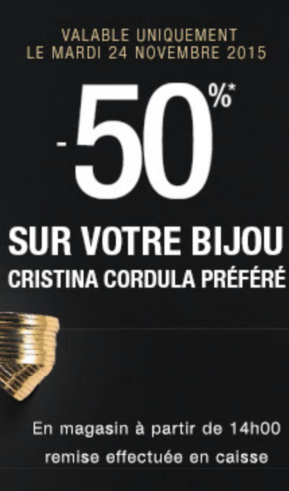 50% de réduction sur votre bijou Cristina Cordula préféré