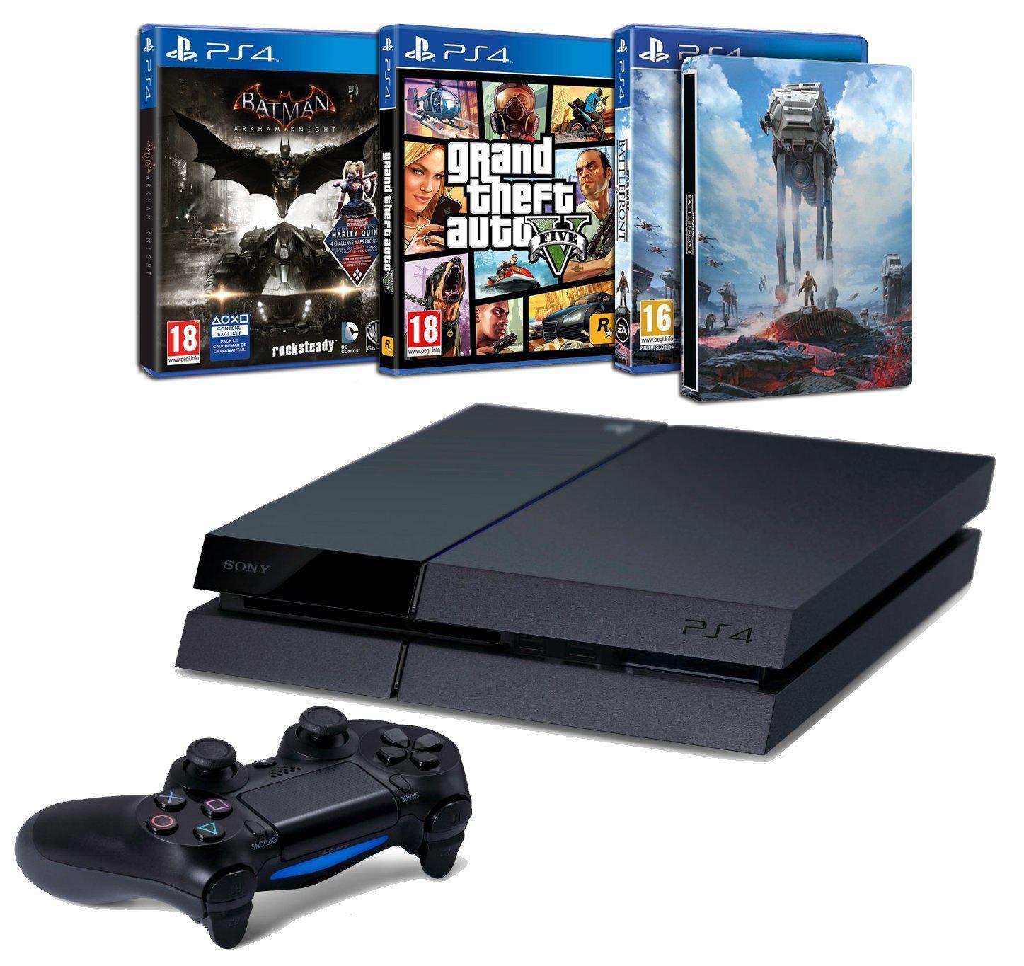 Pack console Sony PS4 500 Go + Batman Arkham Knight + Star Wars Battlefront + Steelbook + GTA V