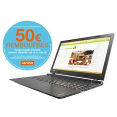 "PC Portable 15.6"" Lenovo Ideapad 100-15 (via ODR 50€)"