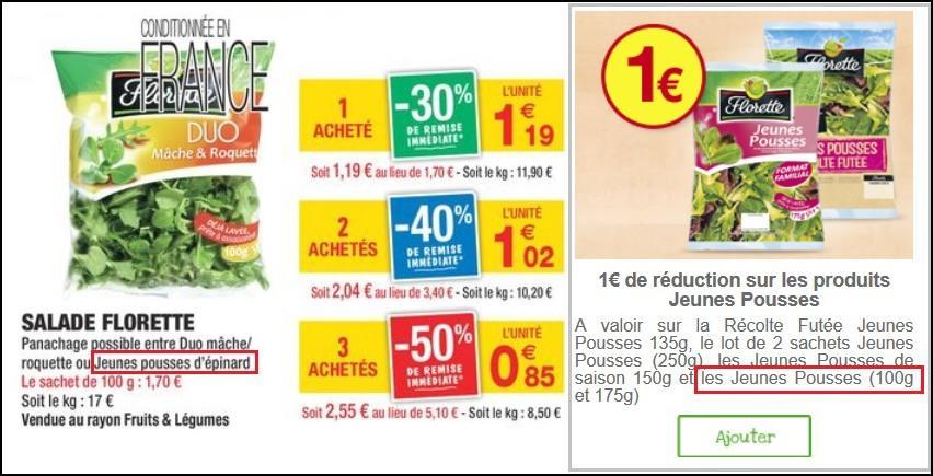 Salade Florette Jeunes pousses d'épinard (via BDR)