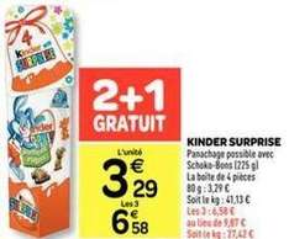 Boîte de 4 oeufs Kinder Surprise, 2 + 1 GRATUIT