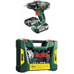 Bosch Perceuse-Visseuse sans Fil PSR 18 Li-2, 2 Batteries 2,5 Ah + Coffret de 83 Outils