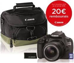 Appareil photo Reflex Canon EOS 1200D + Objectif EF-S 18-55mm DC III + Housse 100EG + Carte SD 8 Go (ODR de 20€)