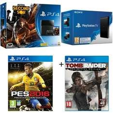 Pack Console Sony PS4 500 Go + inFamous + PES 2016 + Tomb Raider : Definitive Edition + Playstation TV