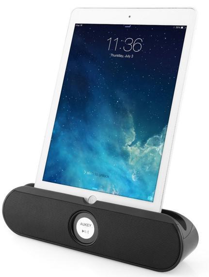 Enceinte bluetooth 10W Aukey - avec support arrière + fente pour smartphone/tablette