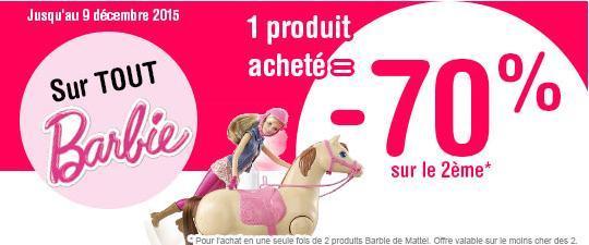 deux Produits barbie achetés = 70% de réduction sur l'article le moins cher